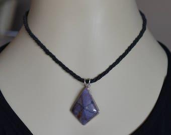 Deep Purple Burro Jasper Pendant, Damsonite Jasper Pendant, Silver Pendant, Twisted Silken Cord, Metalsmith