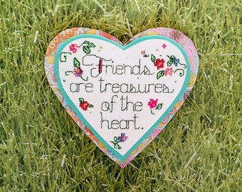 """Heart felt expressions, Gift magnet.""""Friends are treasures of the heart."""""""