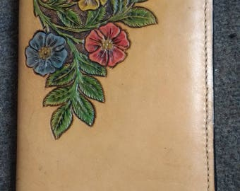 CUSTOM Handcarved leather book cover
