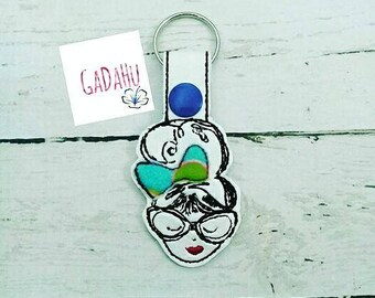 Girl with bow and sunglasses Key Fob Snap Tab Embroidery Design 4X4 size. Key chain Digital design