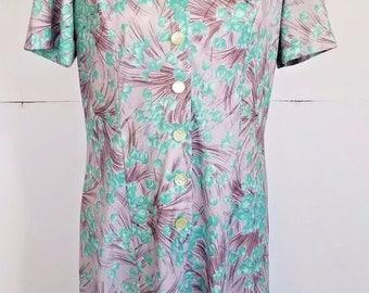 Vintage Sherri Lynn Shirt Dress Light Brown Green Floral 18 XLarge