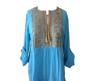 Golden Summer Embroidery Tunic with Pom Pom Trim
