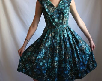 1950's Blue and Brown Pleated Dress