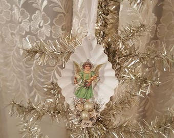 Shabby Chic Vintage Dessert Tin Ornament Angel With Bell and Horn Vintage Christmas Joy Glitter Ornament
