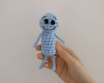 Mr. Meeseeks Plush/Plushie Stuffed Toy. Rick and Morty Character Crochet Christmas Gift. I'm Mr. Meeseeks, look at me!!