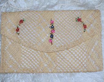 Rose Flower Straw Handbag