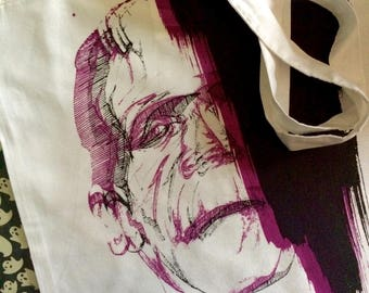 Frankenstein's Monster 3D Effect Tote Bag --FREAK-- Screen printed canvas tote bag- classic horror- purple and black canvas tote bag