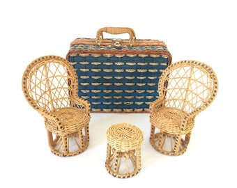 Wicker suitcase / lounge miniature rattan / vintage