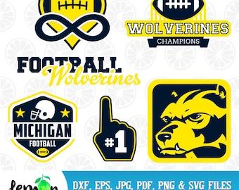 University of Michigan SVG, Football Wolverines, Wolverines Champions SVG, Michigan Football, Michigan University,  Instant Download  105