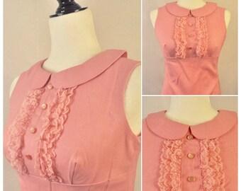 Vintage 1960s Mod Pink Pan Collar Lace Ruffle Button Sleeveless Empire Dress Small