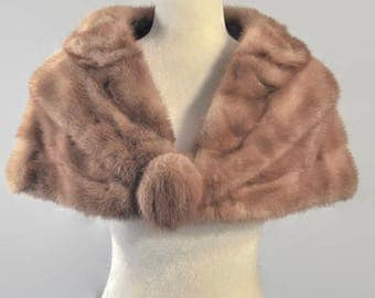 Vintage 1950s Reid Genuine Mink Fur Honey Blonde Beige Stole Cape Shawl Capelet Pin Up