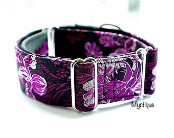 MYSTIQUE - Special occasions martingale collar, Fancy sighthound collar, Greyhound collar