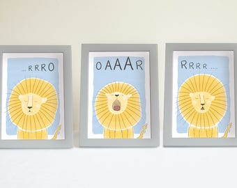 Art print Set Roaring lion - Art print - printable nursery decor