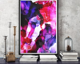 Modern Abstract Painting, Red Pink Purple Painting, Wall Art, Ink, Giclee Print