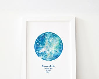 The Custom Star Map // Gold + Colour Options // Star Chart // Astrology Sky Map // Custom Constellation Print // Personal Wedding Gift