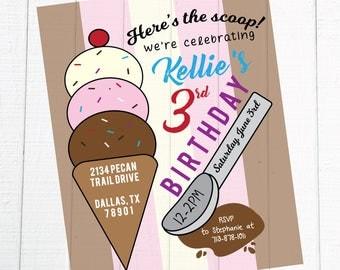 Here's the Scoop Ice Cream Birthday Party Invitation