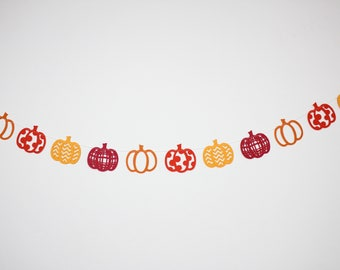 pumpkin garland/ fall garland/ thanksgiving garland/ thanksgiving decor