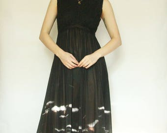 50s Romantic Black Slip XS S