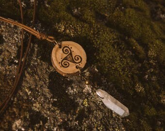 Triskelion wood burned pendant, triskel necklace, clear quartz necklace, wood pendant, pagan, wood burning necklace.