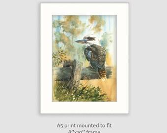 "Kookaburra Print of watercolour painting, A5 mounted to fit 8""x10"" frame, kookaburra painting, australian bird art print, wildlife print,"