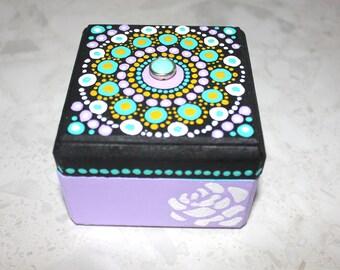 Decorative handpainted mandala dots jewelry home decor personalised gift treasure box
