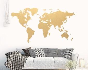 Map wall art gold etsy world map gold modern wall art vinyl wall sticker apartment decor world gumiabroncs Gallery