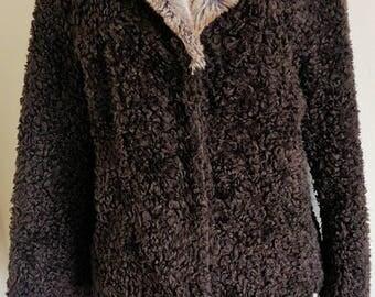 Vintage Dark Brown Faux Curly Lamb Fur Jacket With Faux Fur Collar Size Large H.R. Eybl Artfur by Besoin International