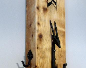 Coat Hook Rack hanger Cast iron chunky rustic unique art reclaimed wood handmade