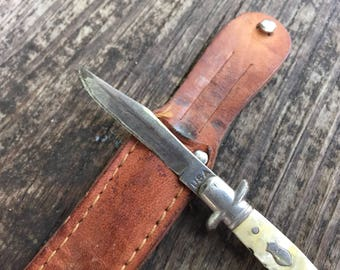 Small Mother-of-Pearl Buck Knife with Leather Sheath