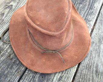 Brown Suede Leather Aussie Cowboy Hat