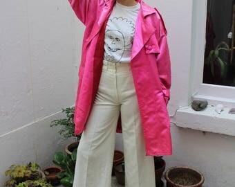 Pink Satin Mac Coat