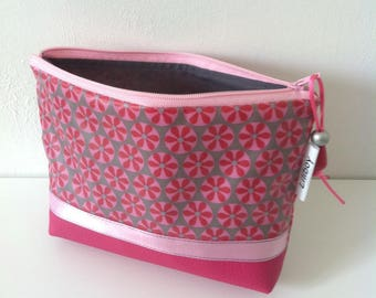 """makeup """"mosaic"""" cotton coated pink/gray and pink leatherette"""