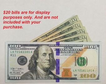 The Hottest Unique Hundred 100 Dollar Bill Printed Wallet Bi-Fold - Canvas - Money
