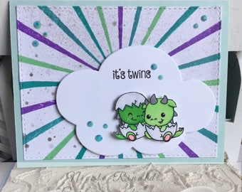 Twin New Baby Greeting Card