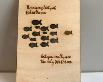 Plenty of Fish Wooden Postcard, Personalised Card, For The One I Love, 5th Anniversary, Gift for him / her, Wood Anniversary Gift, Valentine