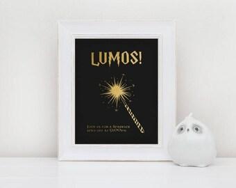Gold and Black Printable Sparkler Send Off Sign for Harry Potter Wedding
