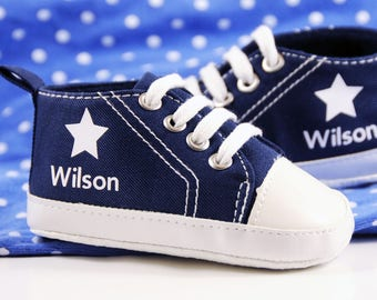 Blue Star High Tops, Personalized Baby Shoes, Personalized Shoes, Baby Shoes, Infant Shoes, Soft sole, Baby Gifts, Personalized Baby Gift
