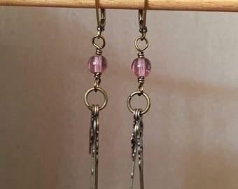 Purple clock-hand earrings