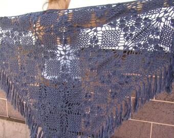 Blue big crocheted  shawl crochet Knit shawl womens shawl lace shawl knit shawl neck warmer hand knit shawl fashion scarf unique gift