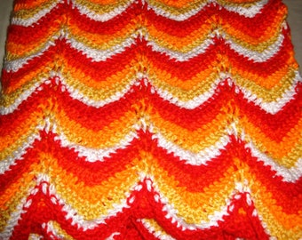 Crocheted Blanket/Throw/Afghan in Red, Red Orange, Bright Orange, Yellow and White