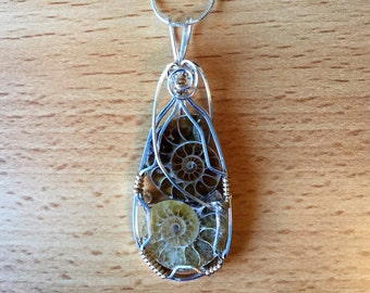 Double Ammonite Fossil Pendant set in Sterling Silver and 14k gold-filled wire.