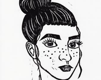 Freckled Hand-printed Linoprint