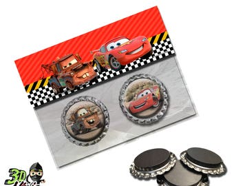 Disney Cars Magnets | Bottle Cap Magnets | Party Favors | Gift