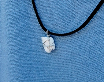 White Howlite Crystal Necklce