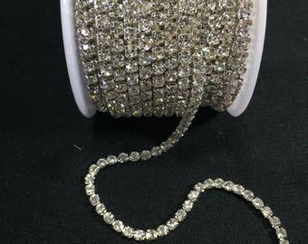 Silver Rhinestone Chain Trim