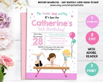 GYMNASTIC Invitation, Gymnastics Birthday Invite, Girls invitations, Gymnastic Party, Editable invitations, Template Instant download
