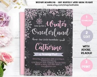 Winter Onederland Invitation, Chalkboard, Pink and Gold, Snowflake Girls 1st birthday, Winter Wonderland, Instant download, Editable invite