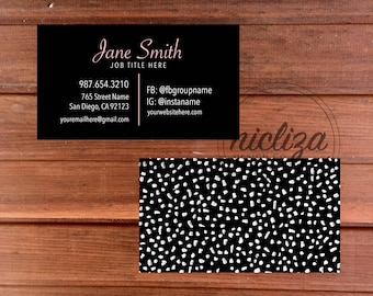 Custom Business Card, Lipsense Business Card, Lularoe Business Card, Black Business Card, Modern Business Card, Polka Dot Business Card