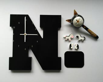 "Wooden Letter ""N"" Clock 