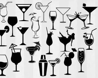 Cocktails SVG Bundle, cocktail svg, drink svg, margarita svg, martini svg, 21st birthday svg, svg files for silhouette, cricut cut files